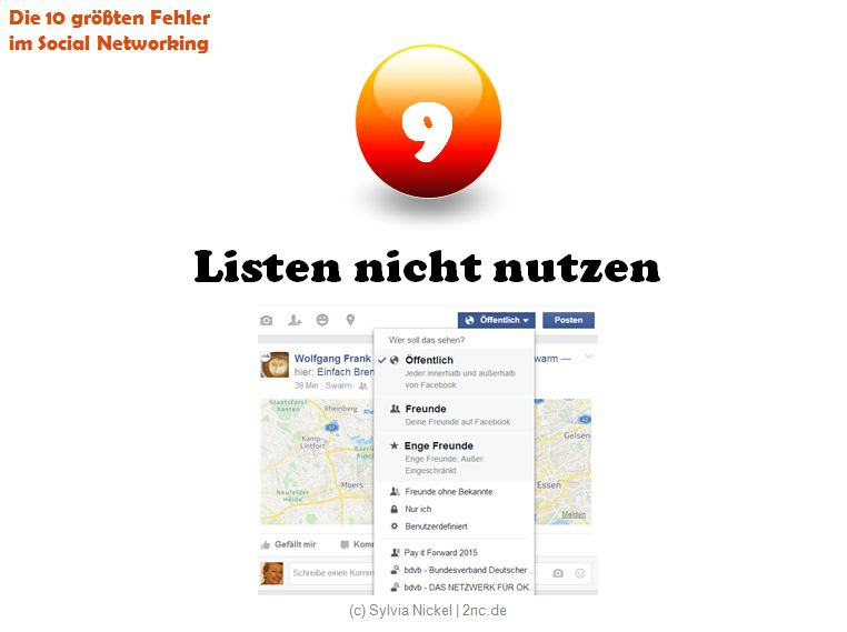Fehler #9 im Social Networking (c) Sylvia Nickel